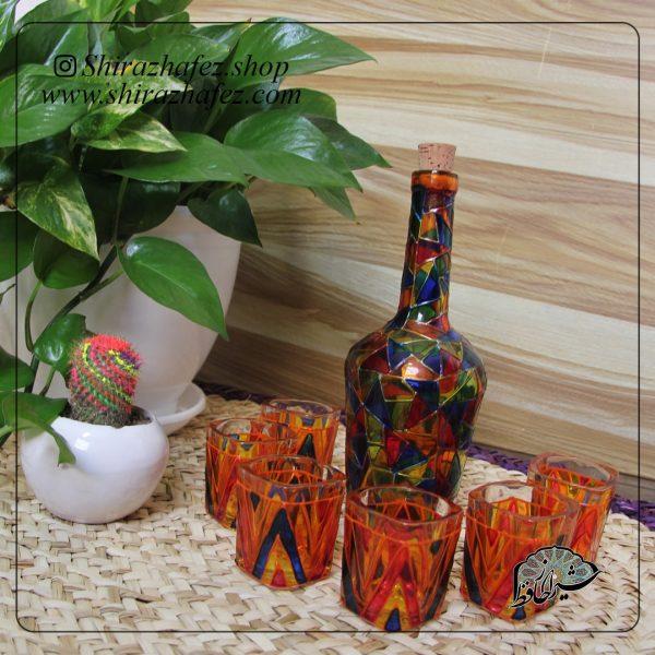 ست بطری و شات ویترای کد2 ، خرید آنلاین از فروشگاه آنلاین صنایع دستی شیراز حافظ . عرضه کننده محصولات دکوراتیو و خاص هنرمندان شیرازی
