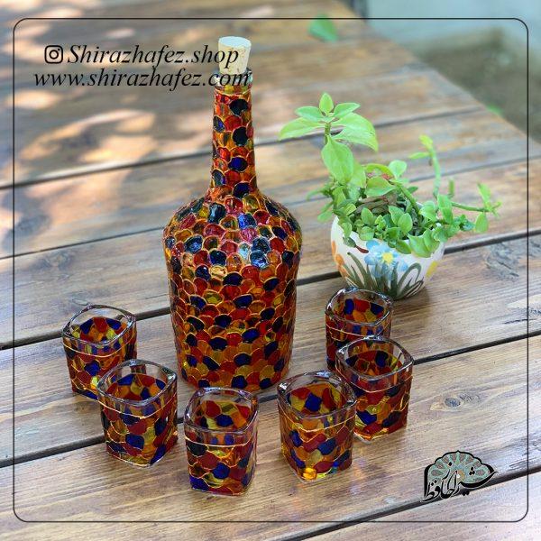 ست بطری و شات ویترای کد3 ، خرید آنلاین از فروشگاه آنلاین صنایع دستی شیراز حافظ . عرضه کننده محصولات دکوراتیو و خاص هنرمندان شیرازی