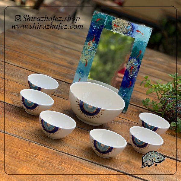 ست سفره هفت سین چشم نظر از جنس سرامیک و لعاب دار . منقوش ظریفی ازرنگ آبی یکی از محصولات فروشگاه آنلاین صنایع دستی شیراز حافظ ،